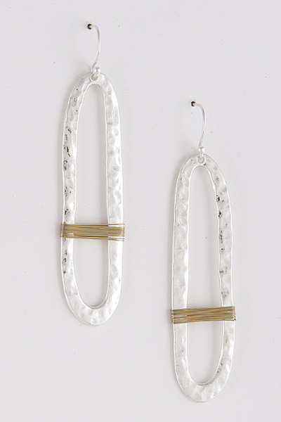 Hammered Oval Flat Earrings