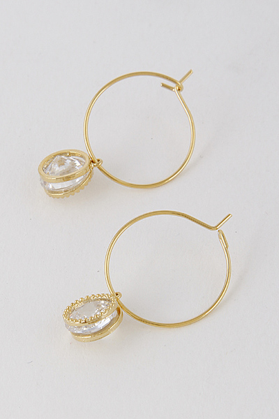 Lovely Faux Diamond Small Hoop Earrings