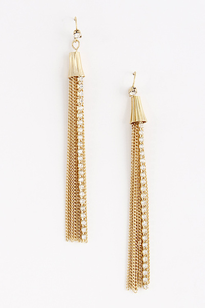 Long Rhinestone Earrings With Fringes