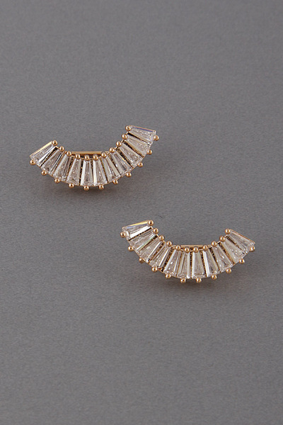 Rhinestone Crescent Stud Earrings