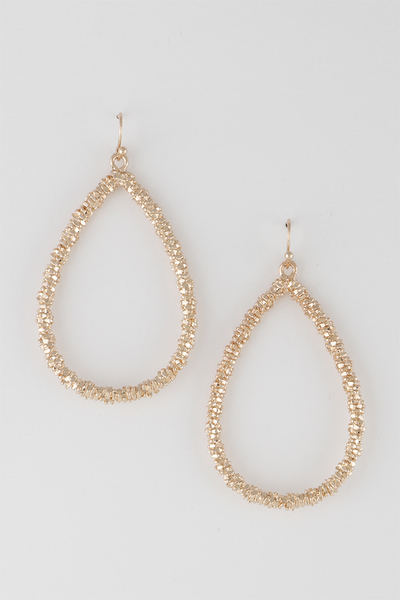 Sparkling Open Cut Water Drop Earrings