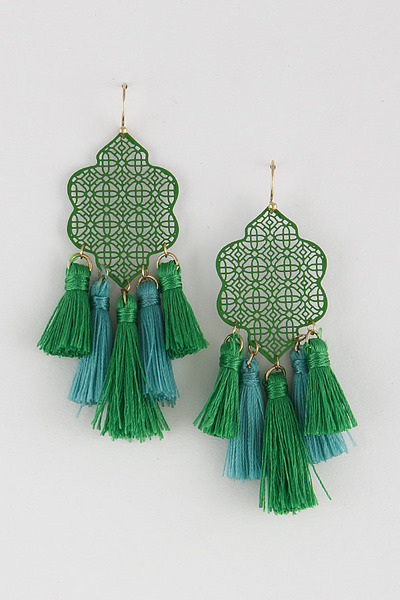 Engraved Design Tassel Earrings