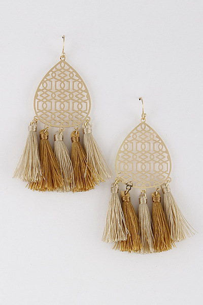 Tassel Engraved Earrings