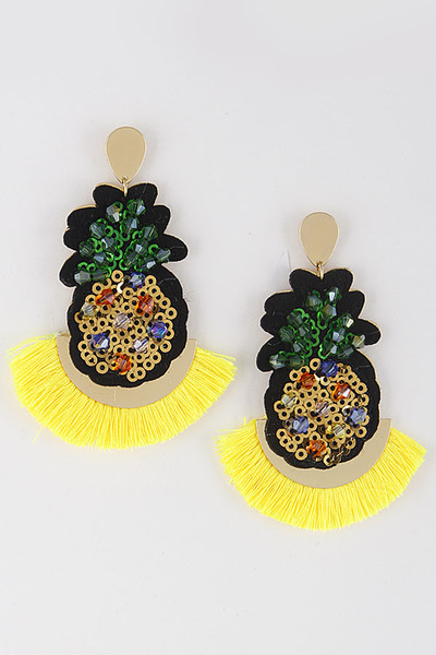 Pineapple Rhinestone Tassel Earrings