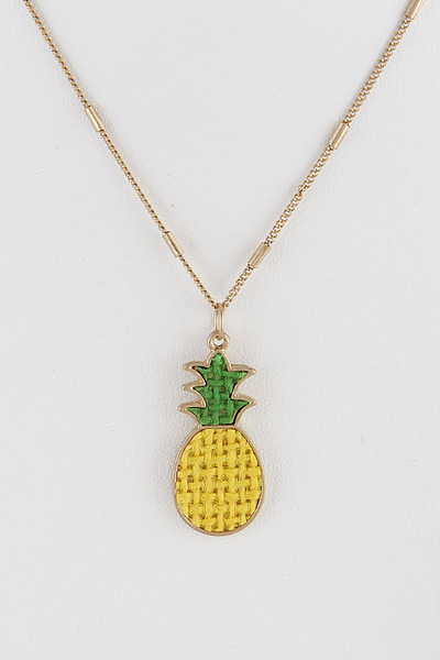 Embroidered Pineapple Necklace