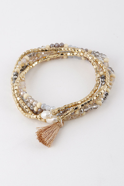 Multi-Beaded Tassel Bracelet