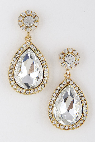Formal Faux Rhinestone Teardrop Earrings