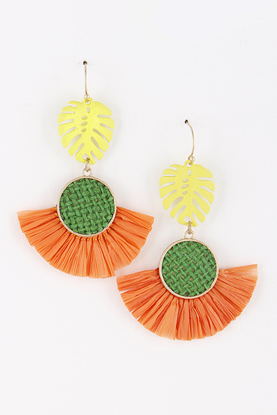 Metal Leaf Dangle Tassel Earrings