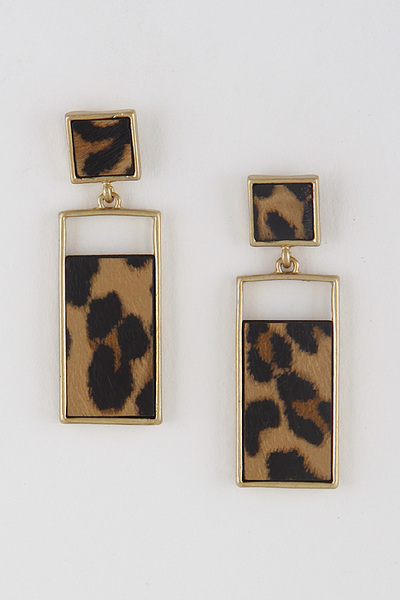 Rectangle Snake Print Earrings