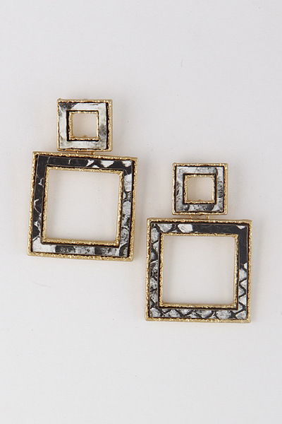 Box Drop Square Earrings