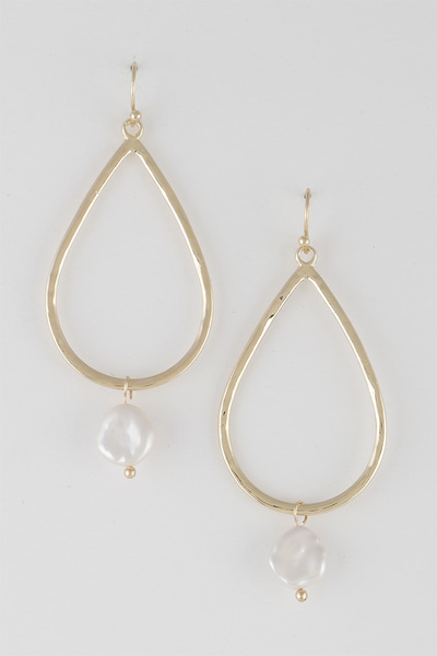 Open Cut Geo Pearl Drop Earrings