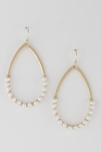 Half Pearl Open Cut Geo Earrings