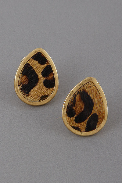 Leopard Drop Stud Earrings