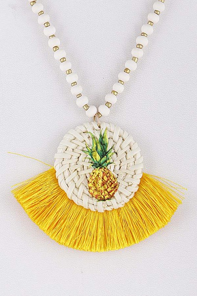 Long Tropical Pineapple Tassel Necklace