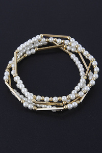 Delicate Beaded Pearls Bracelet Set