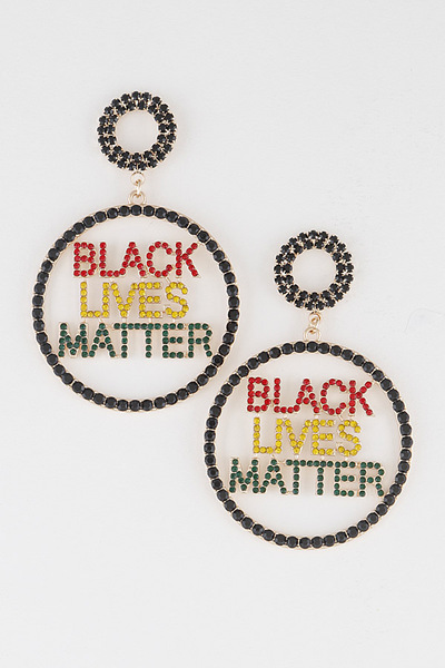 Rhinestone Black Live Matter Drop Earrings