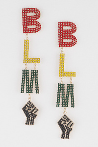 Blm Rhinestone Drop Earrings