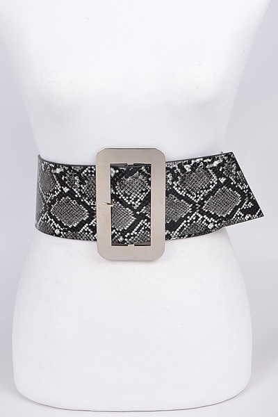 Snakeskin Big Rectangular Buckle Bet