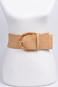 Straw Belt With Bamboo Buckle