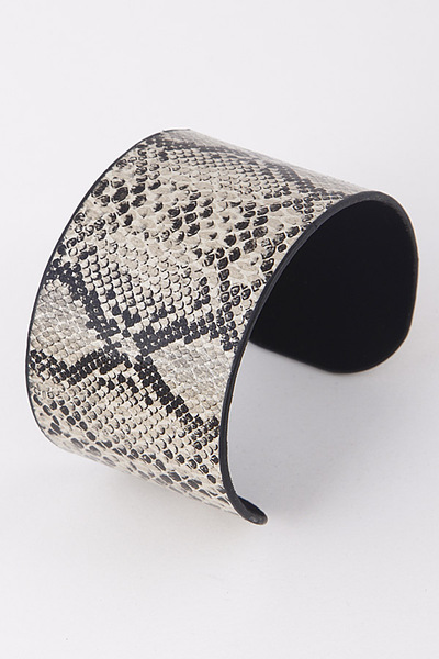 Faux Animal Skin Open Cut Bracelet