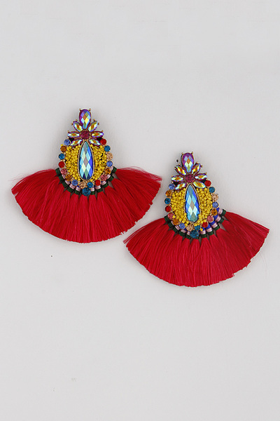 Rhinestone Jeweled Tassel Earrings