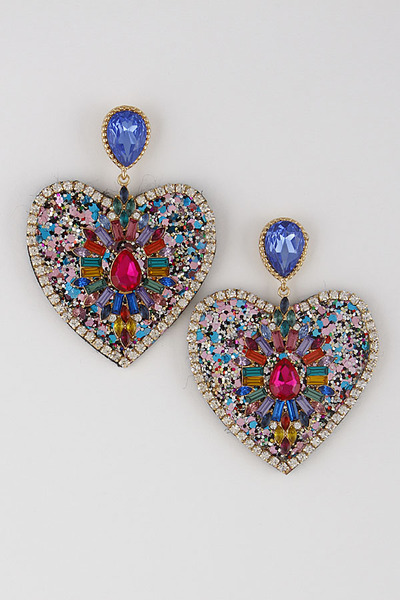 Deep Heart Drop Earrings