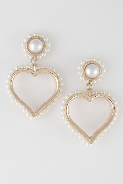 Fine Pearl Heart Drop Earrings