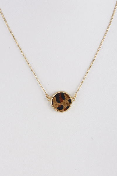 Circle Animal Print Pendant Necklace