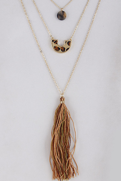 V Shape Layered Mixed Necklace