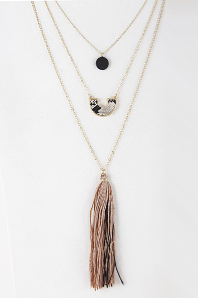 Layered Fringe & Tassel Necklace