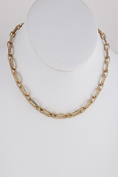 Metal Chain Round Necklace
