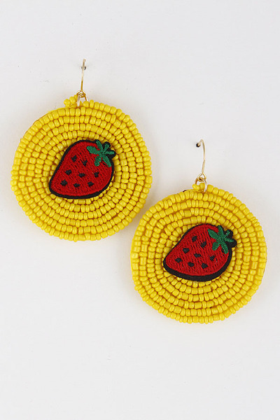 Strawberry Bead Embroidered Earrings