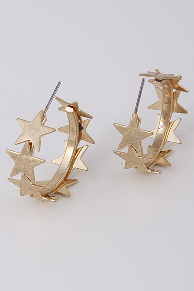 Lovely Starts Metal Earrings