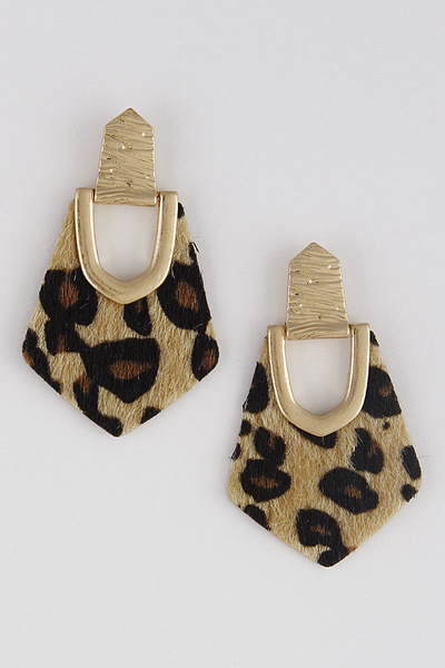 Leopard Geometric Drop Earrings