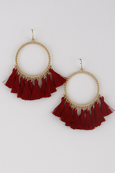 Multi Tassel Curtain Drop Earrings