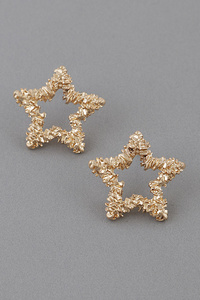 Hammered Star Open Cut Earrings