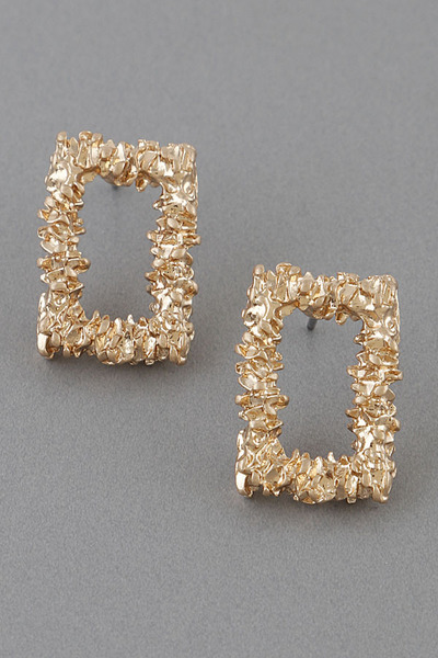 Hammered Square Open Cut Earrings