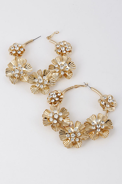 Delicate Flower Hoop Earrings With Small Rhinestones