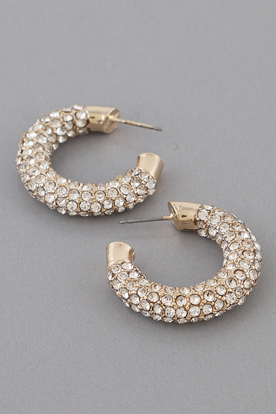 Rhinestone Thick Hoop Earrings