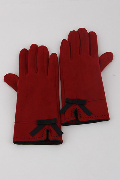 Suede Ribbon Gloves