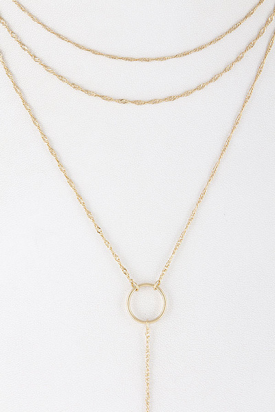 Simple Layered Necklace With Circle Pendant