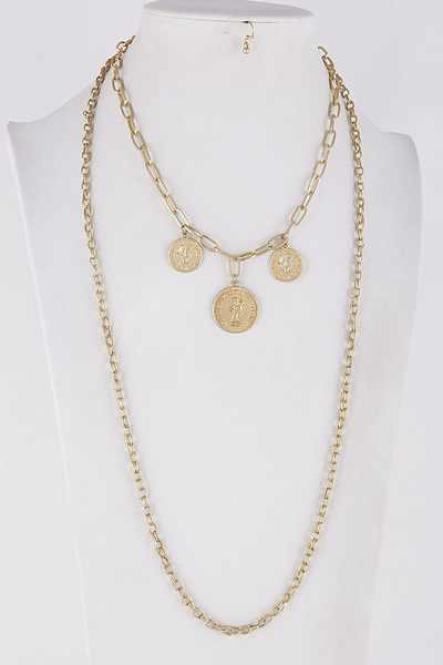 Layered Coin Mixed Chain Necklace