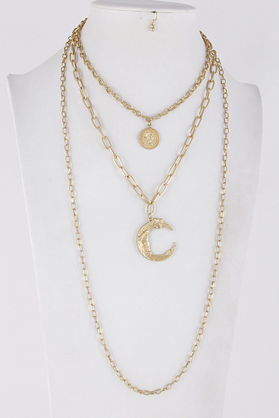 Layered Chain Mixed Moon & Coin Necklace
