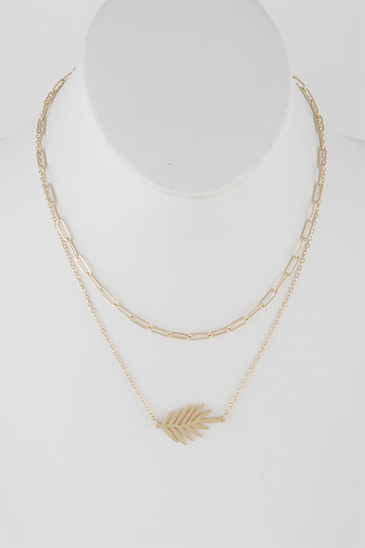 Leaf Pendant Double Layered Necklace