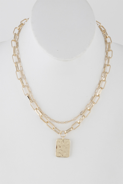 Matte Chain Necklace with Hammered Pendant