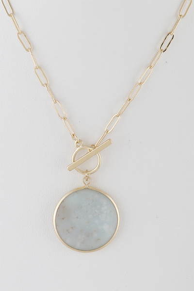 Round Stone Pendant Toggle Necklace