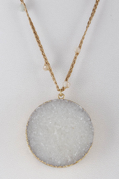 Circle Druzy Stone Long Necklace