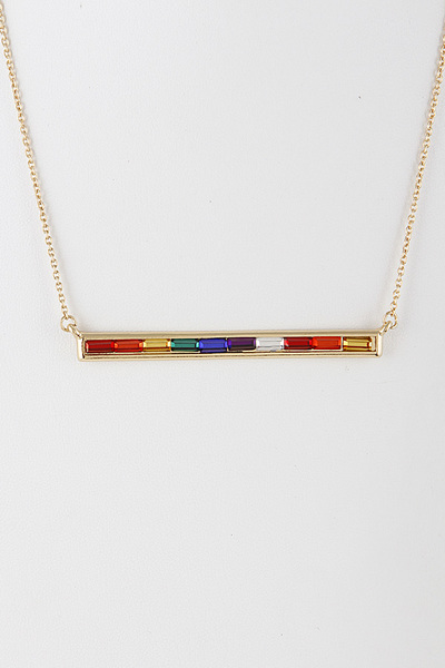 Multi Jewel Bar Necklace