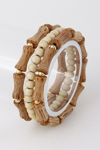 Antique Wooden and Beaded Bracelet