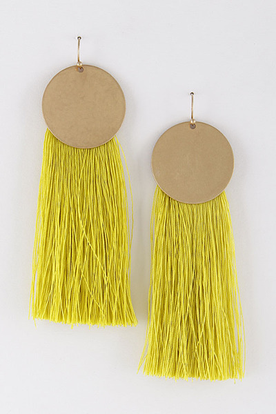 Fringe Tassel Earrings With Circle Metal